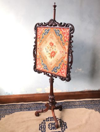 Victorian Mahogany pole screen, tripod base & tapestry, circa 1850-0