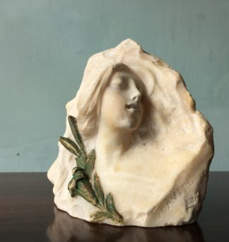 Carved marble Art Nouveau bust with lilly, signed SOAVITE, c.1900-0
