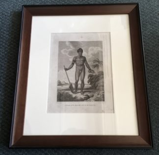 Framed Cook's Voyages engraving - 'Man of the Admiralty Isles' circa 1785-0