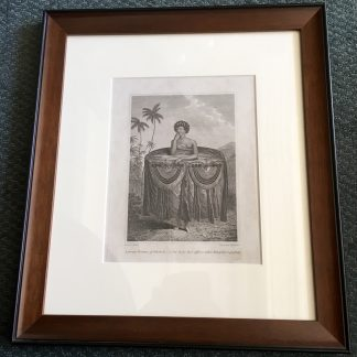 Framed Cook's Voyages engraving - 'Woman of Tahiti' circa 1785-0