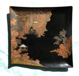 Superb quality Japanese lacquer tray with landscape, c. 1890-0