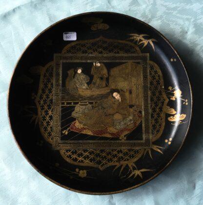 English paper maché dish, c. 1860-0