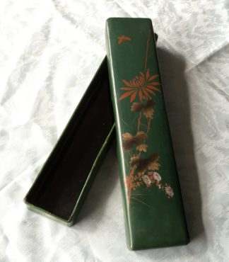 Japanese Green Lacquer fan box, c. 1890-0