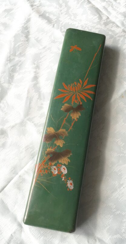 Japanese Green Lacquer fan box, c. 1890-17853