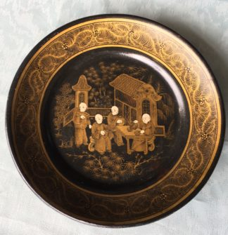 English paper maché plate, chinoiseries, C. 1860-0