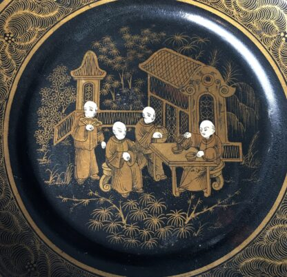 English paper maché plate, chinoiseries, C. 1860-17892
