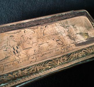Dutch brass and copper tobacco box, engraved Biblical scenes, c.1750-0