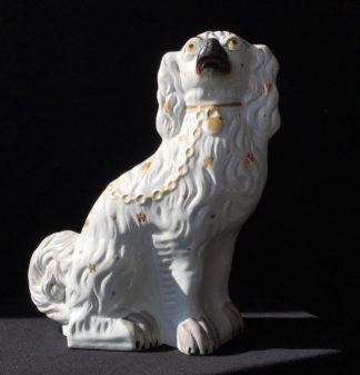 Staffordshire spaniel dog, gilt details, c. 1860-0