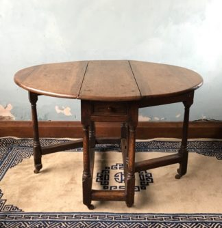 Oak gateleg table, single drawer, early 18th century. -0
