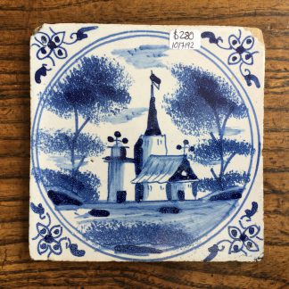 Dutch Delft tile, church, c. 1700 -0
