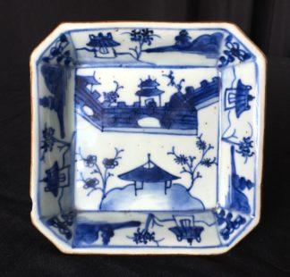 Chinese porcelain square dish with underglaze landscape, Kanxi c.1700-0