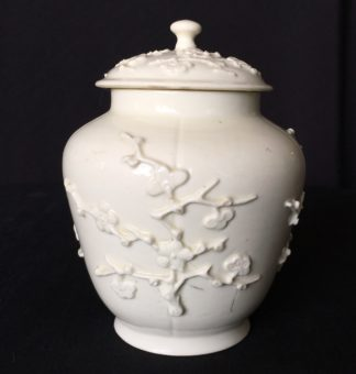 St Cloud jar with prunus sprigging, c. 1725-30-0