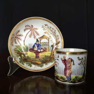 Minton 'Sporting Chinese' pattern coffee can & saucer, c.1820 -0