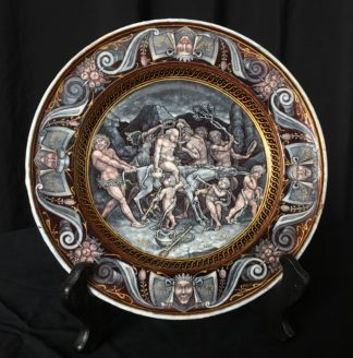 Limoges enamel plate, 'Silenious', 16th century style, 18th/19th century-0