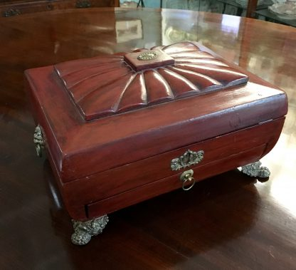 English red lacquer sarcophagus shaped sewing box with with ormolu mounts, draw and fitted interior , c. 1820-0