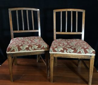 Pair of English elm country chairs with stringing to the splats, c. 1800-0