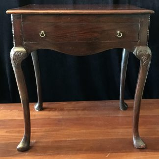 18th C English oak side table with draw to the front with elegant carved legs and later modifications -0