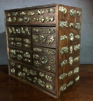 Small Japanese elm chest of drawers with brass appliqué motives, c.1890-0