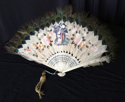 Chinese feather fan with painted scenes, C. 1830-20280