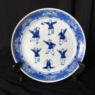 Chinese Export blue & white plate, 'Blind Man's Bluff', c.1780-0