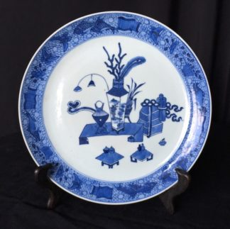 Chinese export blue & white plate, 'precious objects', c.1780-0