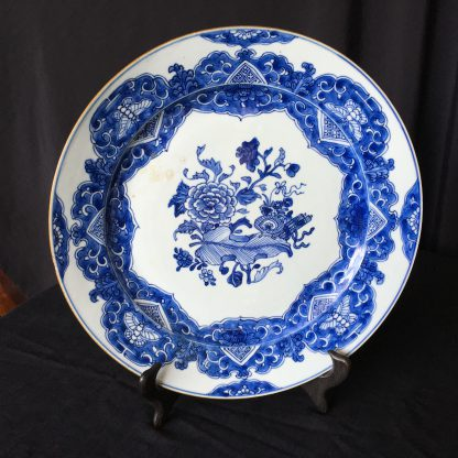 Chinese Export blue & white charger, flowers, c.1760-0