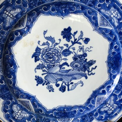 Chinese Export blue & white charger, flowers, c.1760-24775