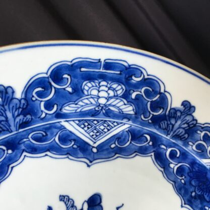 Chinese Export blue & white charger, flowers, c.1760-24772
