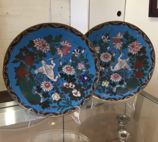 Pair of large Japanese cloisonné plates with cranes and flowers, c. 1890 -0