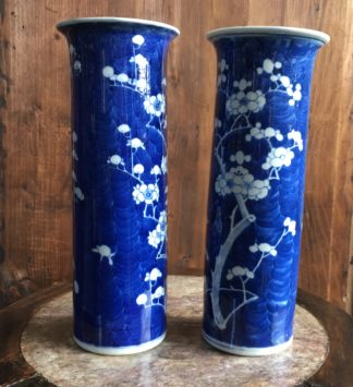 Pair of Chinese cylinder vases, flowering prunus, circa 1900-0
