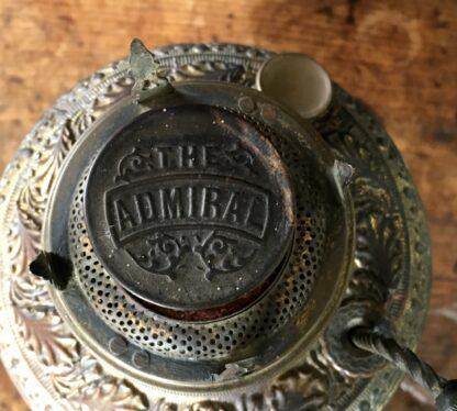 Brass kerosene lamp, flowers & leaves with 'The Admiral' burner fitting, Circa 1890-18715