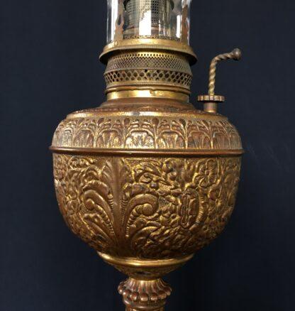 Brass kerosene lamp, flowers & leaves with 'The Admiral' burner fitting, Circa 1890-18718
