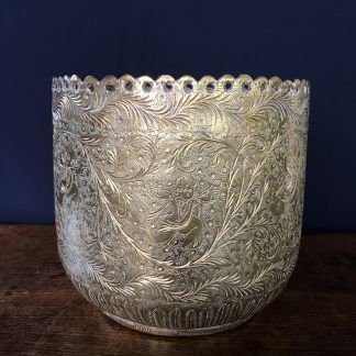 Indian late 19th.C brass jardiniere engraved with feathers and figures -0