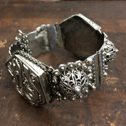 Damascus silver bracelet with fine fret work and Islamic inscriptions, 19th C. -18847