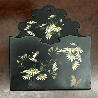 Victorian paper mache hanging wall pocket, hand painted with daisies and butterflies, c. 1890-0