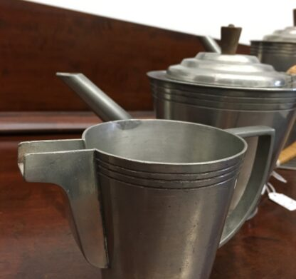 "Art Deco Malaysian pewter tea & coffee service, wicker handles, marked ""Malayan C.K.T Pewter"" c. 1920-18865"