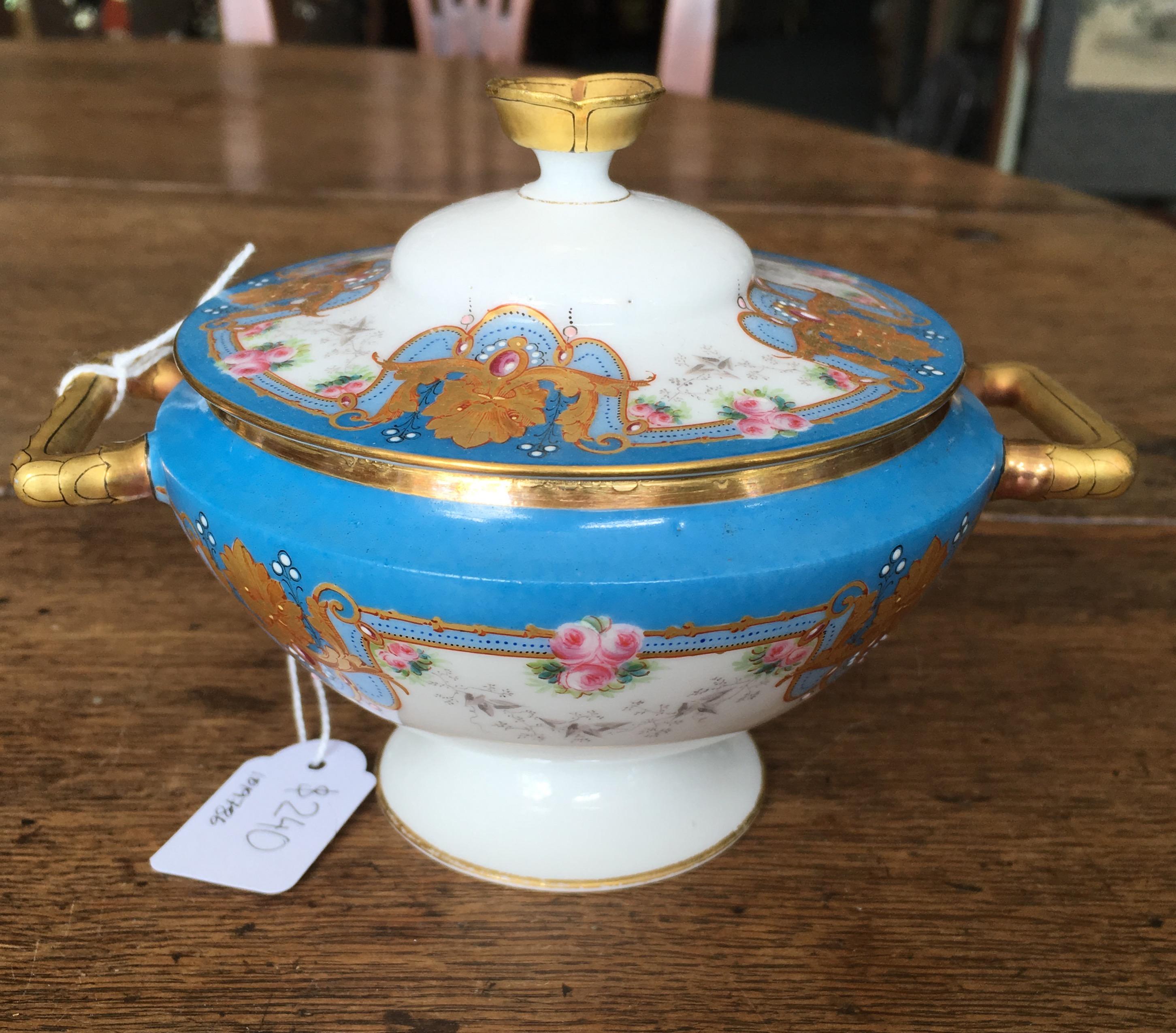 Limoges porcelain sugar bowl, ornate gilt on blue ground, c  1875