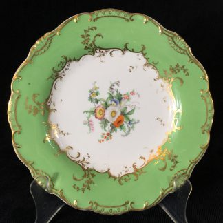 Minton plate with flowers & gilt, green ground, patt. 6536, c. 1845 -0