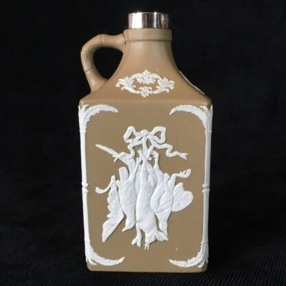 Dudson stoneware spirit flask, game & grapes sprigged, sterling mount c.1875-19091
