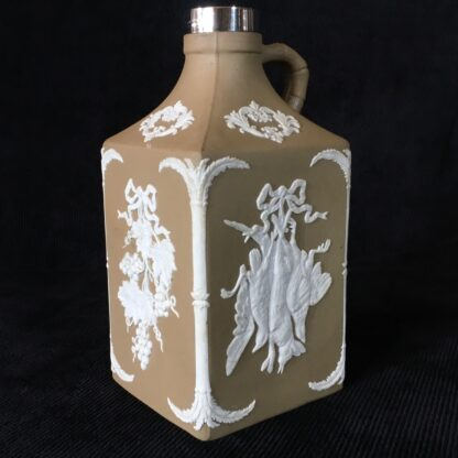 Dudson stoneware spirit flask, game & grapes sprigged, sterling mount c.1875-19092