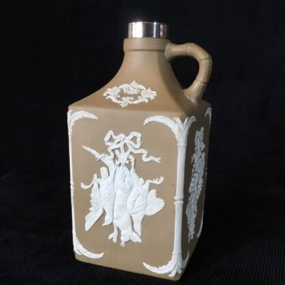 Dudson stoneware spirit flask, game & grapes sprigged, sterling mount c.1875-0