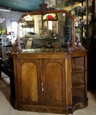 Victorian walnut credenza with mirrored back & open shelves, c. 1875-0