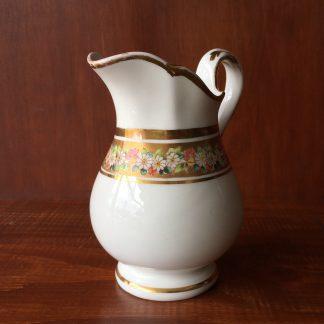 Victorian porcelain milk jug, flowers & gilt border, c. 1870 -0