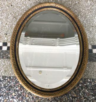 Gilt wood oval bevelled mirror, c. 1800-0