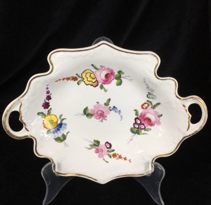 Samuel Alcock serving dish, 'melting snow' borders with flowers, c. 1835-0