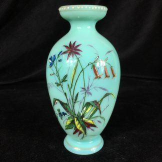 Victorian glass vase , pale turquoise with enamelled flowers, c. 1880 -0