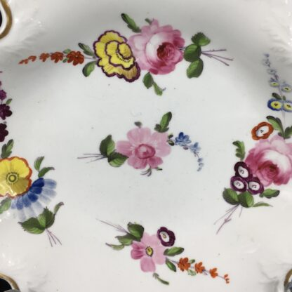 Samuel Alcock serving dish, 'melting snow' borders with flowers, c. 1835-19639