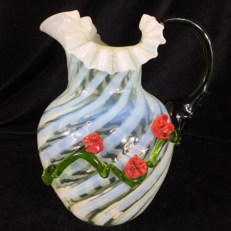 Victorian glass jug, spiral green & white with red applied flowers, c. 1880 -0