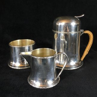 Silver plated 3pce traveling tea service set, Arts & Craft. c.1900-0
