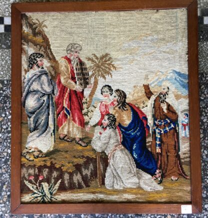 Victorian Woolwork, Moses & the 10 commandments, c.1860-0